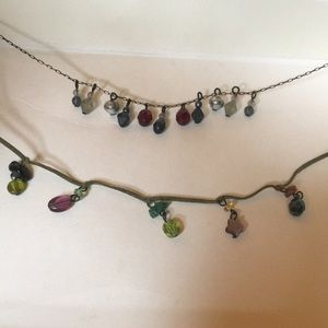 "2 multicolored beaded 16"" chokers"